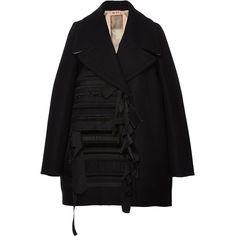 No. 21 Ribbon Embellished Oversized Coat ($1,665) ❤ liked on Polyvore featuring outerwear, coats, coats & jackets, jackets, ruffle coat, velvet coat, oversized coat and embellished coat