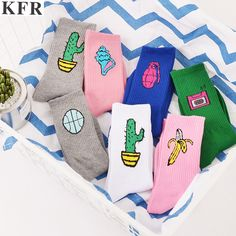 9597cec2dc47 Novelty Cute Funny Happy Cactus Banana Socks Harajuku pink white art female  sock Women and Men