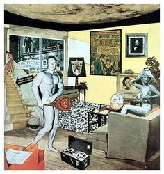 Pop art collage called 'Just what is it that makes today's homes so different, so appealing? 1956 by Richard Hamilton is one of the earliest pieces labeled Pop Art. Hamilton died in Robert Rauschenberg, Collage Foto, Art Du Collage, Collage Collage, Digital Collage, Jasper Johns, Cultura Pop, Andy Warhol, Photomontage