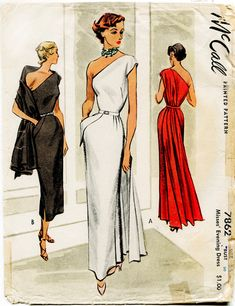 1940s 1950s McCall 7862 UNCUT vintage sewing pattern evening gown long cocktail dress one shoulder fitted bodice paneled drape column pencil white red black bust 30 b30