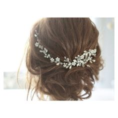 Bridal Headpiece, Crystal Bridal Hair Piece, Cristal and Pearl Bridal... ❤ liked on Polyvore featuring accessories, hair accessories, bride tiara, bridal tiaras, crystal hair pins, bridal hair accessories and crystal bridal tiara