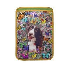 Lady in Butterflies - Brittany Spaniel Sleeves For MacBook Air from DianeClancyAnimals at Zazzle by Diane Clancy's Art
