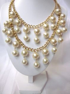"The ""Caroline"" - Gold and Pearl Necklace inspired by the ""2 Broke Girls"" TV Show"