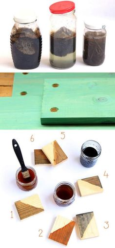 7 recipes to make wood stains in any color using natural household materials! These quick and easy wood stains are super effective, long lasting, low cost, and non-toxic! Diy Bed Frame Plans, Diy King Bed Frame, Bed Frame And Headboard, Wood Headboard, Diy Frame, Homemade Wood Stains, Wood Crafts Furniture, Easy Woodworking Ideas, Woodworking Bed