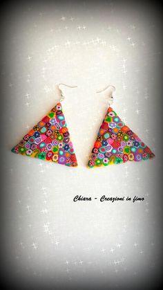 #polymerclay Orecchini in fimo eleganti con murrine handmade triangoli
