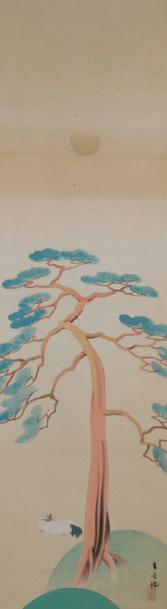 Crane and Pine Tree by Tashiro Kogai, early 20th C. Tashiro Kogai (1882- 1936). Japanese hanging scroll painting.