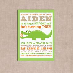 Gator party invite (high-res file) from WickedCraftyDesign on etsy for  $12.00.