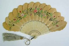 1845 Silk and vory fan painted with roses Museum of the City of New York