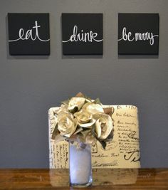 Eat Drink u0026 Be Merry Canvas Wall Art Paintings Black and White Set of 3 Wall Hangings Dining Room Decor Kitchen Wall Decor Custom Eat Signs & Eat Drink u0026 Be Merry Wall Art Pack of 6 Canvas by GoldenPaisley ...