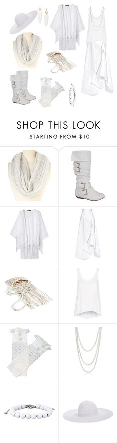 """white strega ethereal witch boho bohemian"" by charliecraft ❤ liked on Polyvore featuring LA Double 7, Michael Lo Sordo, Merona, rag & bone, Bling Jewelry, David Yurman and August Hat"