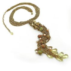 Gold chain knot necklace  gold pearl statement by osofreejewellery, $89.00