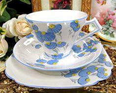 SALISBURY TEA CUP AND SAUCER TRIO HANDPAINTED FAN PATTERN FLORAL BLUE TEACUP