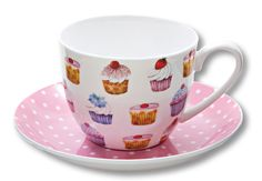 CUPCAKE CUP and SAUCER CAPPUCCINO PINK POLKA DOTS NEW 15.16