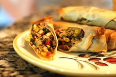 Southwestern Egg Rolls, just like Chili's only baked, awesome with Our Best Bites Cilantro Lime Ranch dressing