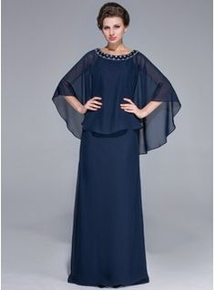 Sheath/Column Scoop Neck Floor-Length Chiffon Charmeuse Mother of the Bride Dress With Beading (008025717) - JJsHouse