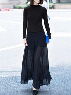 Long Sheer Skirt with Short Under-Skirt