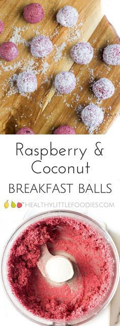 Raspberry Coconut Breakfast Balls. No refined sugar, sweetened only with fruit. A great hand held breakfast for BLW (baby-led weaning), kids or adults! #blw #babyledweaning #kidsbreakfast