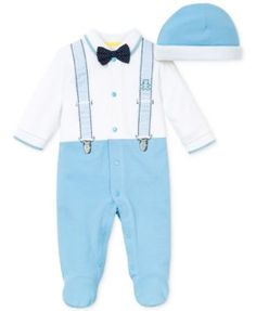 Little Me Baby Boys' 2-Piece Hat & Suspender with Bow Tie Footed Outfit