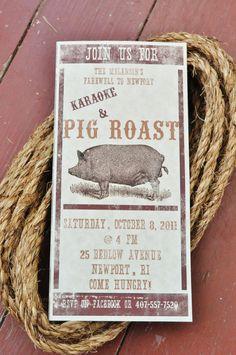 Pig Roast Invitation and Food Cards