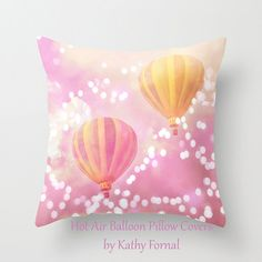 Carnival Pillow Balloons, Hot Air Balloons Pillow Case Cover, Child Nursery Baby Room Throw Pillows, Decorative Throw Pillow Cover 16x16 on Etsy, $40.00