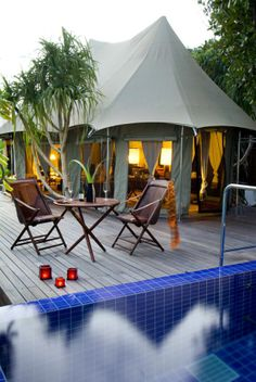 Banyan Tree Maldives Vabbinfaru, a boutique hotel in Vabbinfaru Island Luxury Camping, Luxury Travel, Luxury Spa, Beach Honeymoon Destinations, Holiday Places, Small Places, Beaches In The World, Butterfly Chair, Resort Spa