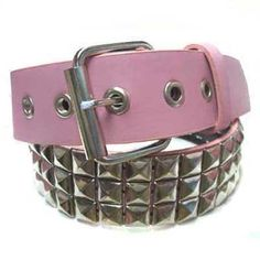Pink Pyramid 3 Row Silver Stud Spike Leather Belt Small Luxury Divas. Save 32 Off!. $12.99. Small measures approximately 38.5 inches long, end to end. Medium 43 inches long, end to end. Large 46.5 inches long, end to end. X-Large 50 inches long, end to end.. This belt has 3 metal rows of pyramid studs to create a Gothic Emo look.. Stylish without being over whelming. Wear with a simple t shirt and jeans, and you have gone from blah to brilliant without much effort.. Imported. ...