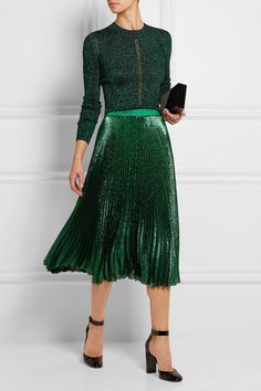 """Who says you can't wear a metalic green skirt to the office?""    CHRISTOPHER KANE   Pleated silk-blend lamé skirt  $275"