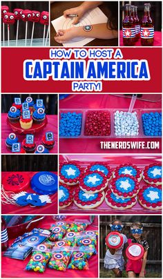 How to Host a Captain America Party, including free printable bottle labels, shield favor labels, DIY Captain America Shield printables, and how to make Captain America Shield Cookies! #HeroesEatMMs #Shop