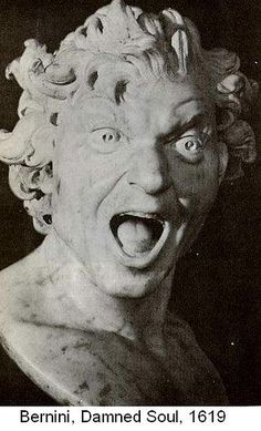 """""""Bernini pushed sculpture to levels of complexity that were unheard of. He saw his figures at moments of high action, in motion and in the act of transformation. It's a common theme to his work. Consider this work of an amazingly expressive screaming man, called 'The Damned Soul'. It's actually a self portrait sculpture of Bernini, one he made by allegedly holding his hand over an open flame to study the facial distortions of his painful screams."""" (from maItaly, Italian History and Art…"""