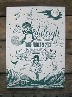 Magic in the Mountains Custom Design Letterpress Birth Announcements