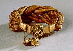 Human Hair Work Mourning Jewelry - Hair Bracelet, c. 1866