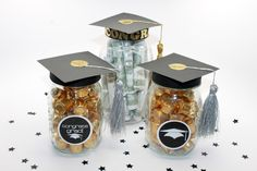 DIY Graduation Mason Jar Party Favors and Grad Gift Craft + free printable - handmadebykelly.com; onlinelabels.com