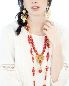 coral and gold great Jose and Maria Barrera summer look available at www.lastcall.com