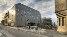 MySpace student housing in Trondheim by MEK Architects - homogenous facade Innovative Architecture, Container Architecture, Architecture Student, Contemporary Architecture, House Architecture, National Building, Student House, Social Housing, Affordable Housing