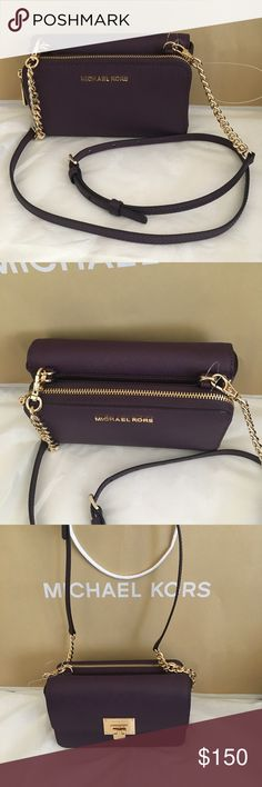 9c05ed7d1865 🌷💕🌸🌹Michael Kors tina clutch crossbody Brand new color: damson Michael  Kors
