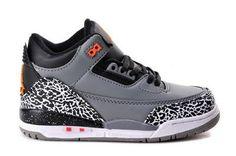 size 40 61493 d78d6 Air Jordan 3 Cool Grey Silver Sport Red-Orange Peel Kids Air Jordan 3