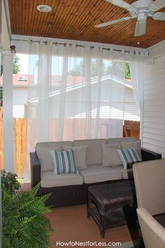 Use fabric to add soft definition to outdoor porch