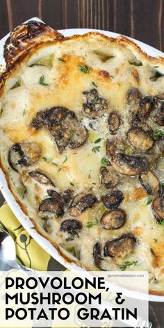 Delicious Meatless Mains To Make For Thanksgiving Upgrade your Thanksgiving sides with this easy Provolone, Mushroom Potato Gratin Recipe.Upgrade your Thanksgiving sides with this easy Provolone, Mushroom Potato Gratin Recipe. Side Dish Recipes, Vegetable Recipes, Vegetarian Recipes, Dinner Recipes, Cooking Recipes, Potato Side Dishes, Vegetable Dishes, Champignon Portobello, Potato Gratin Recipe
