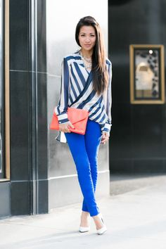 #MemorialDay styling ideas via Wendy's Lookbook: Pair Stripes, a bold bag, and bright J BRAND Jeans for a perfect holiday look.
