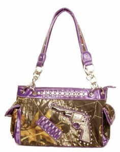 Purple Camo Fashion One Pistol Gun Purse Handbag With Rhinestones