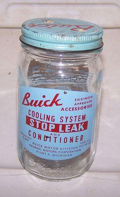Vintage BUICK Radiator Stop Leak Jar FLINT MICHIGAN General Motors Oil Can 1940s