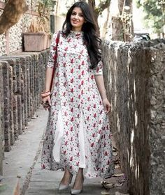 Cotton maxi dress - White Printed High Neck Long Kurti with Front Slits Ethnic Fashion, Indian Fashion, Girl Fashion, Fashion Dresses, Pakistani Dresses, Indian Dresses, Indian Outfits, Western Dresses, Indian Attire