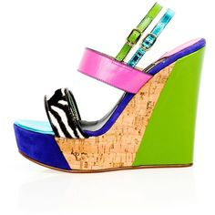 Kim Kwang - Sporty Wedge Sandals Zebra Detailing Green (€560) ❤ liked on Polyvore featuring shoes, sandals, green wedge sandals, leather shoes, wedge sandals, high heels sandals and platform wedge sandals
