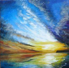 'Dramatic sunset' Acrylic on canvas  https://www.facebook.com/pages/Rita-Readman-Art/270262966411327