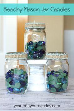 DIY The Best Beachy Mason Jar Candle Ideas !