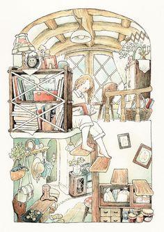 Mi rinconcito de lectura. Y el vuestro? (ilustración de Chiaki Ida )