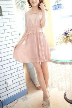 Charming Wide Lace Panel Beading Detail Pleated Dress OASAP.com $31