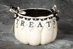 Pumpkin treat container...paper mache.  Designs by Heather Myers