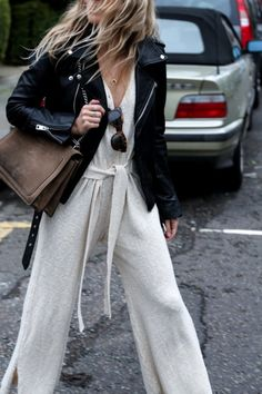 throw on a leather jacket on a casual jumpsuit to make it 10x cooler.