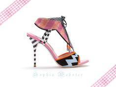 Sophia Webster Pink & orange striped canvas lace up sandals
